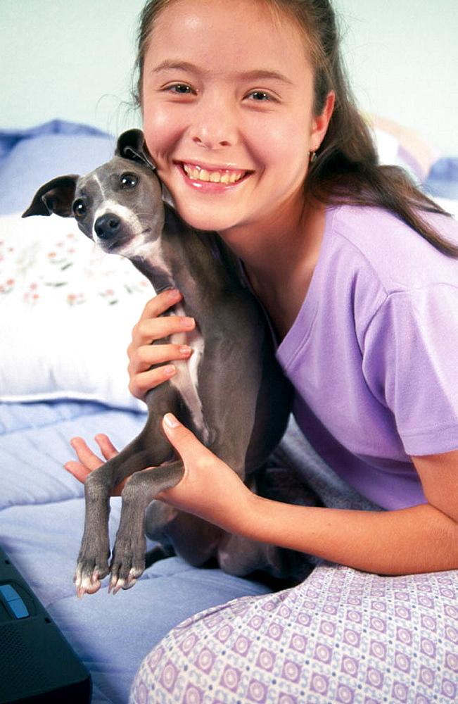 Teen girl and Italian Greyhound