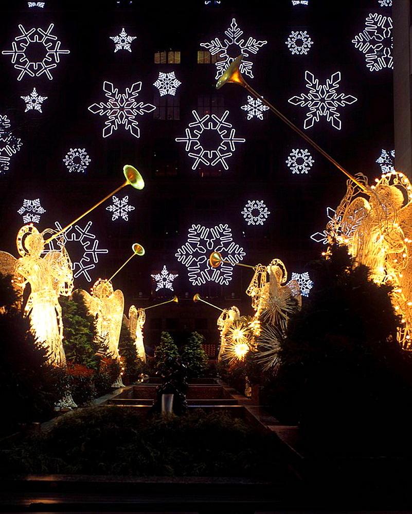 Christmas Saks light display at Rockefeller Center, Manhattan, NYC, USA
