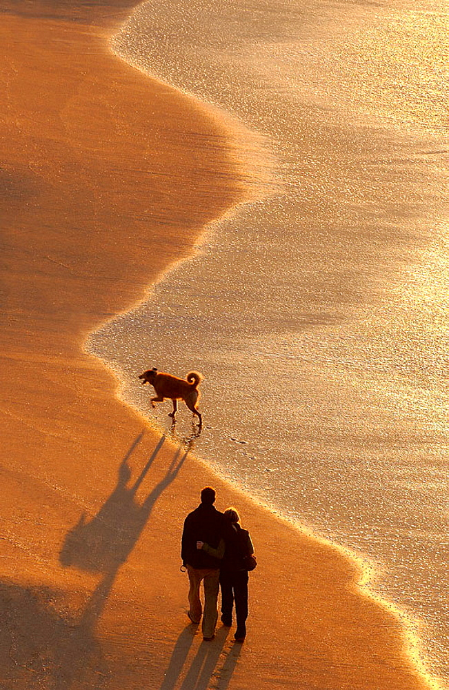 People at beach, Hendaye, Aquitaine, France