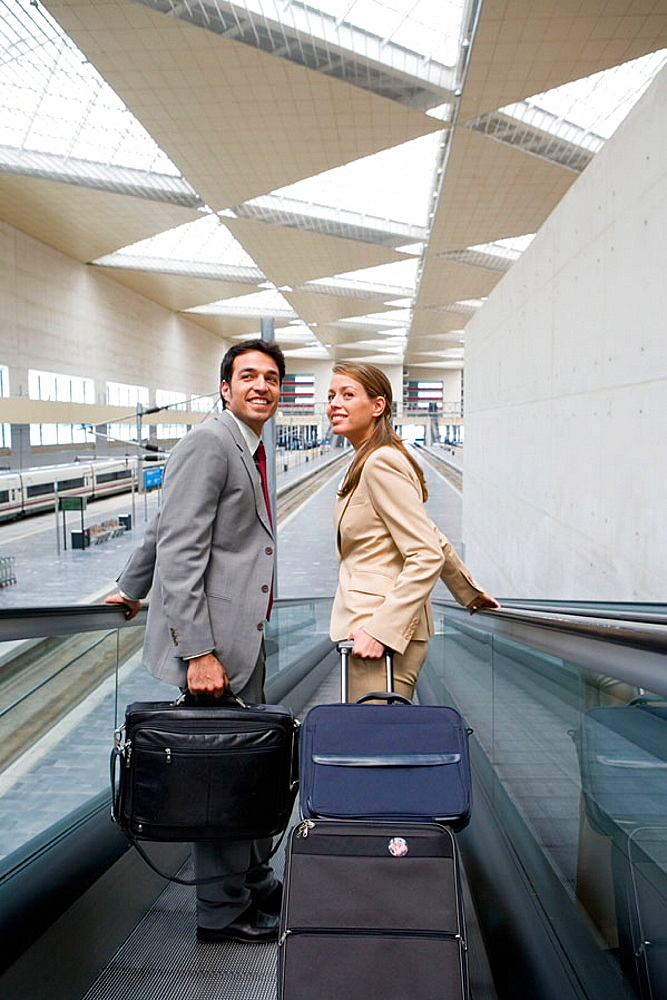 Businessmen, Travelers, Delicias station, Zaragoza, Aragon, Spain.