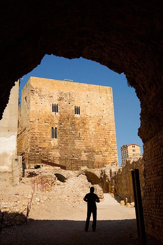 View from the Roman circus to the Roman forum and moorish tower, Tarragona, Catalonia, Spain