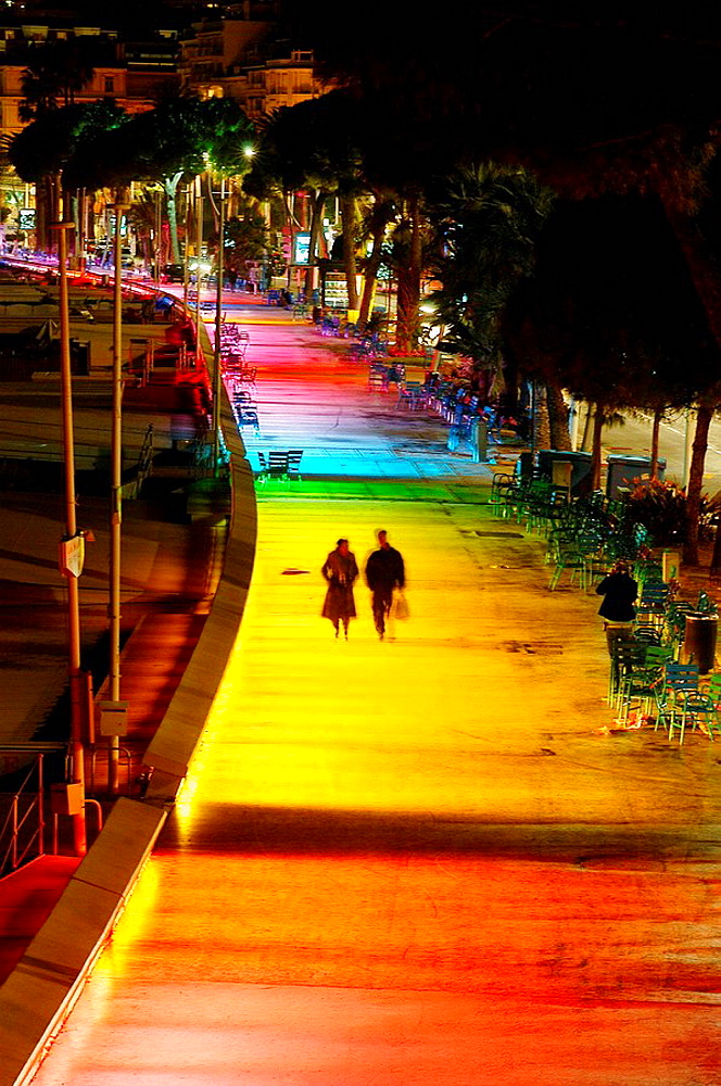 The new lighting plan of the city of Cannes: permanent illumination of the Boulevard de la Croisette, Alpes-Maritimes, France (December, 2007)