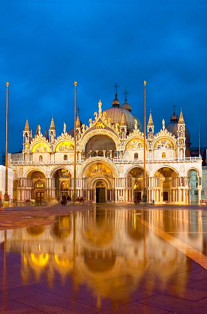 St, Mark's basilica at dusk, Venice, Italy