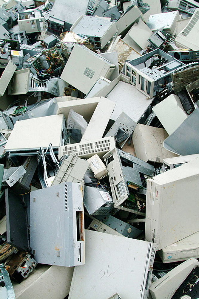 A mountain of computers, Recycling plant, Skelleftea, Sweden. - 817-77168