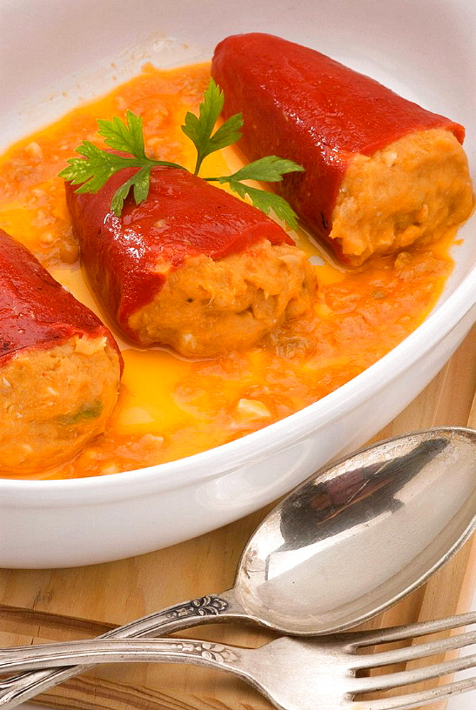 Spanish Cuisine Pimientos del piquillo Stuffed sweet peppers