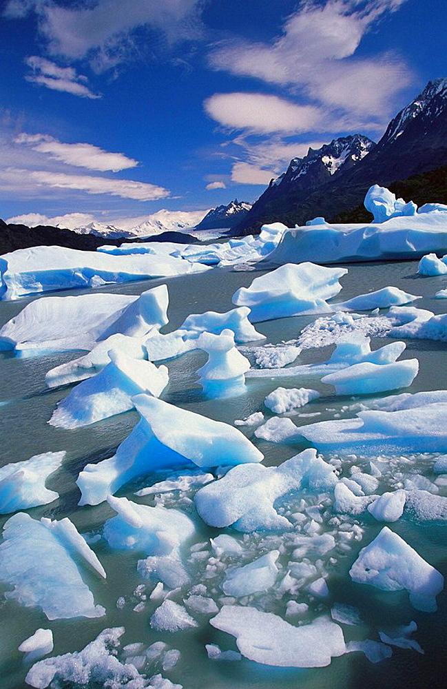 Glacial blue ice of Grey Glacier, Torres del Paine National Park, Chile