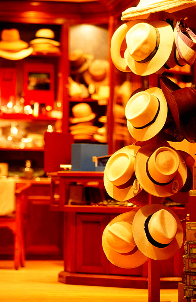 Straw hat shop, Gustavia, Saint Barthelemy, French West Indies, Caribbean
