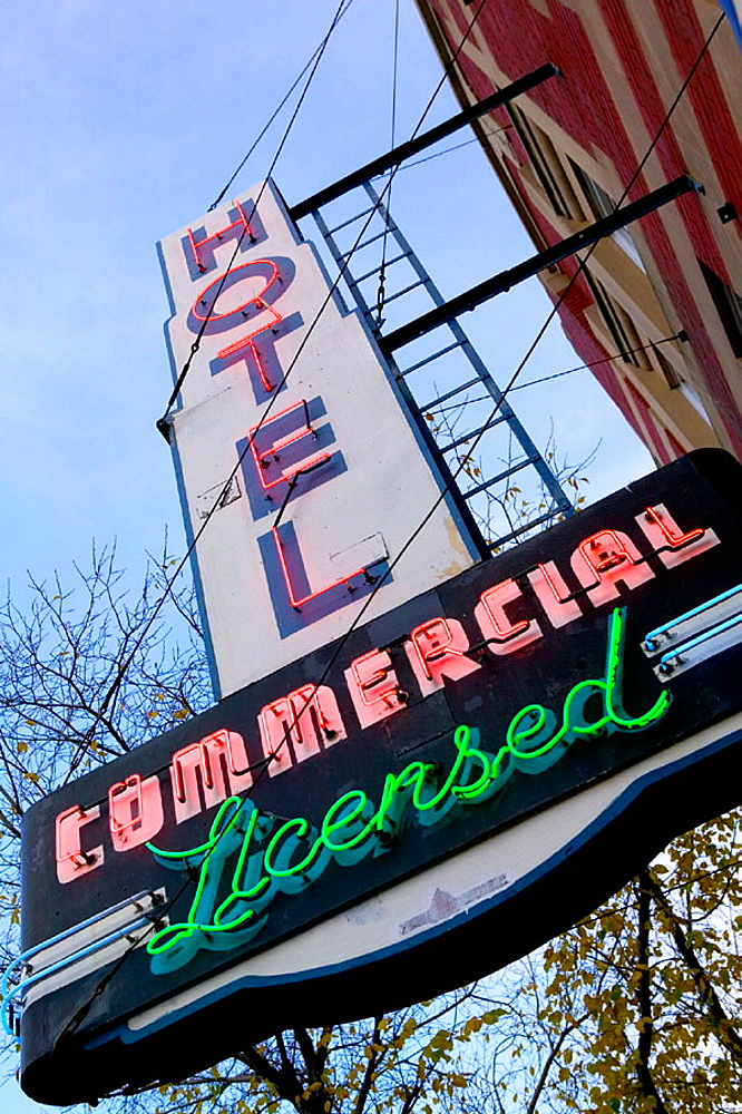 Commercial hotel neon sign at Whyte Avenue, Old Strathcona area, Edmonton, Alberta, Canada