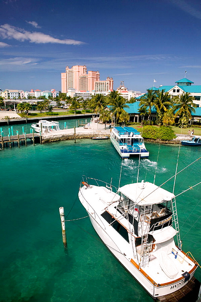 Bahamas, New Providence Island, Nassau: Atlantis Resort and Casino / Paradise Island, Daytime from Nassau Harbor