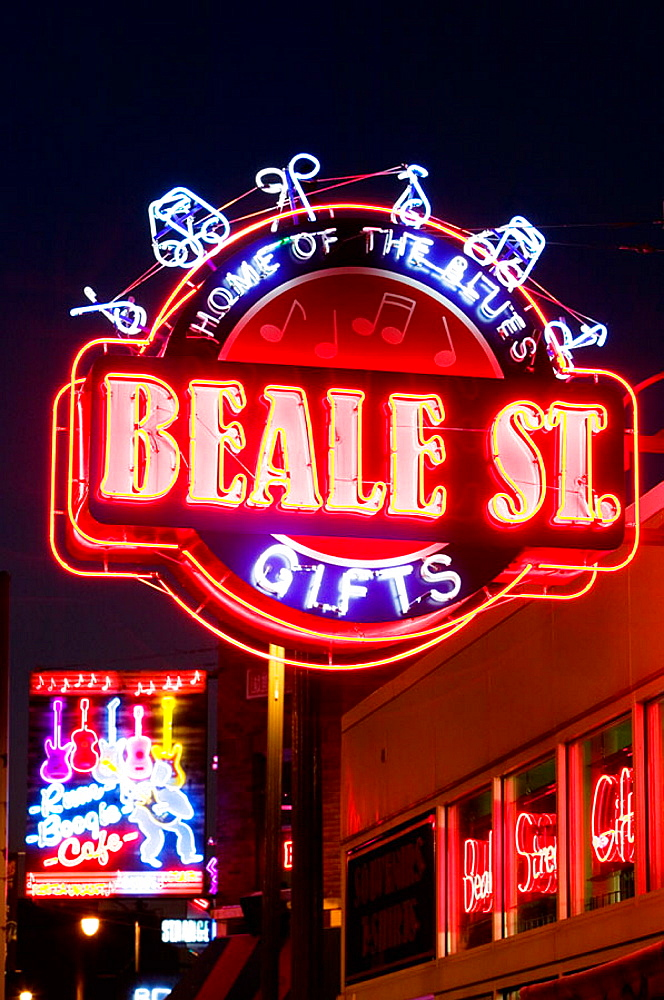 Beale Street Entertainment Area, Neon Signs in the evening, Memphis, Tennessee, USA