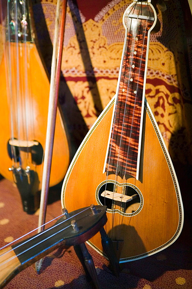 Cretan Museum of Musical Instruments, founded by Musician Ross Daly, Historic Cretan Musical Instruments, Houdetsi, Iraklio Province, Crete, Greece.