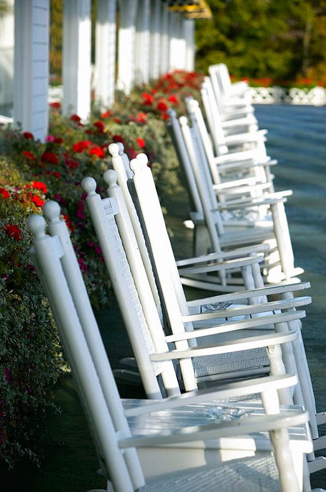 Grand Hotel, Rocking Chairs on the 660 Foot Porch, Mackinaw Island, Straits of Mackinac, Michigan, USA