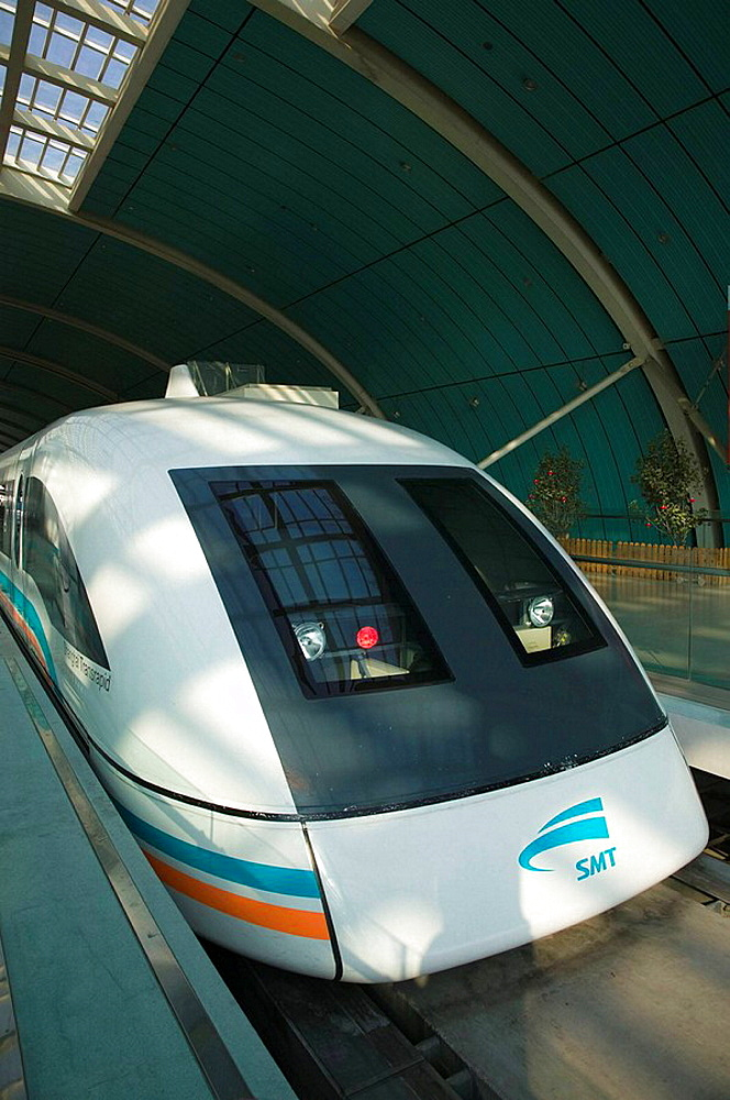 China, Shanghai, Shanghai City: Pudong District, Shanghai Maglev (Magnetic Levitation) train / Exterior