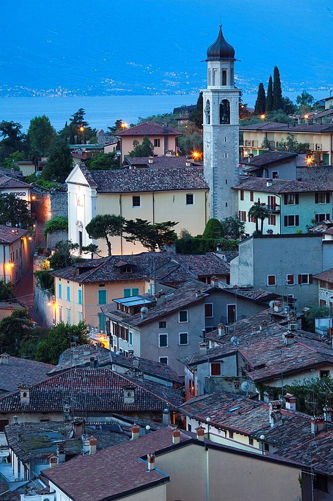 Italy, Lombardy, Lake District, Lake Garda, Limone sul Garda, Chiesa San Benedetto church, dawn