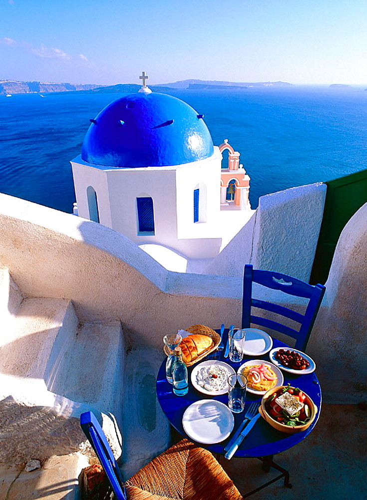 Greece, Cyclades, Santorini Church, on the Caldeira at Oia, Greek food, Greek salad & Mezzes - 817-88046