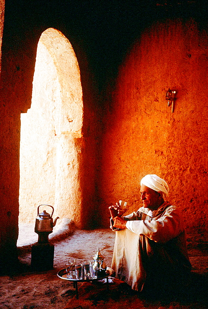 Tea Time inside a historical Casbah, Dades Valley Ksours, Morocco.