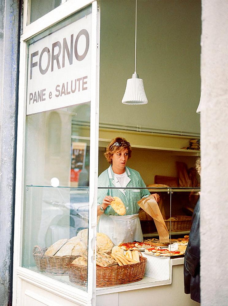 Arezzo bread at Forno Pane e Salute, Tuscany, Italy.