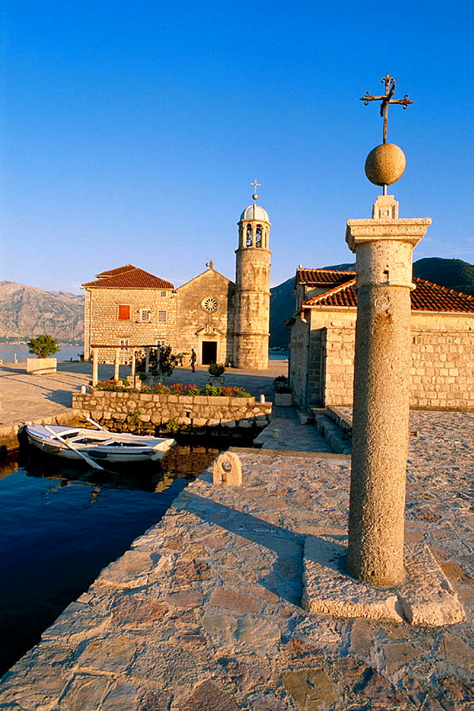 Kotor Bay Perast Island of Gospa od Skrpjela (Lady of Skrpljel), Republic of Montenegro, Adriatic sea coast, Balkan States.