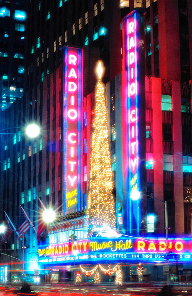 Christmas lights at Radio City Music Hall, New York City, USA.