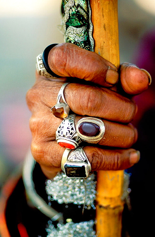Sufi man's hand with jewelry, Pakistan