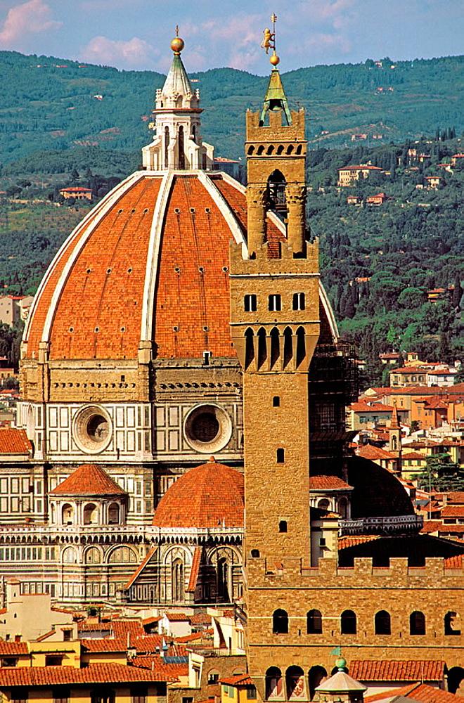 Palazzo Vecchio tower and Santa Maria del Fiore cathedral dome, Florence, Italy