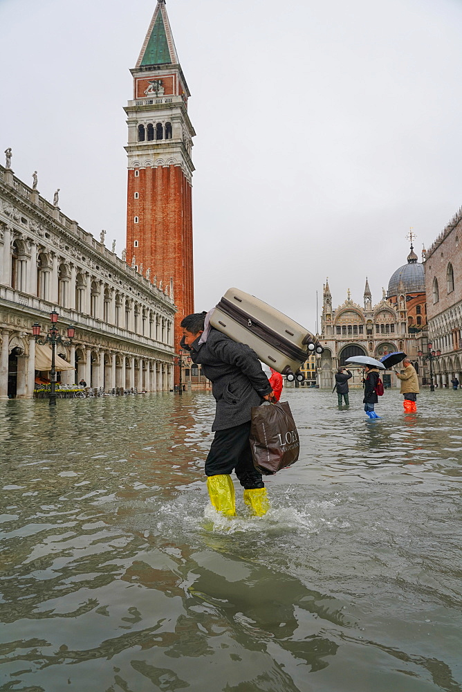 St. Mark's Square during the high tide in Venice, November 2019, Venice, UNESCO World Heritage Site, Veneto, Italy, Europe
