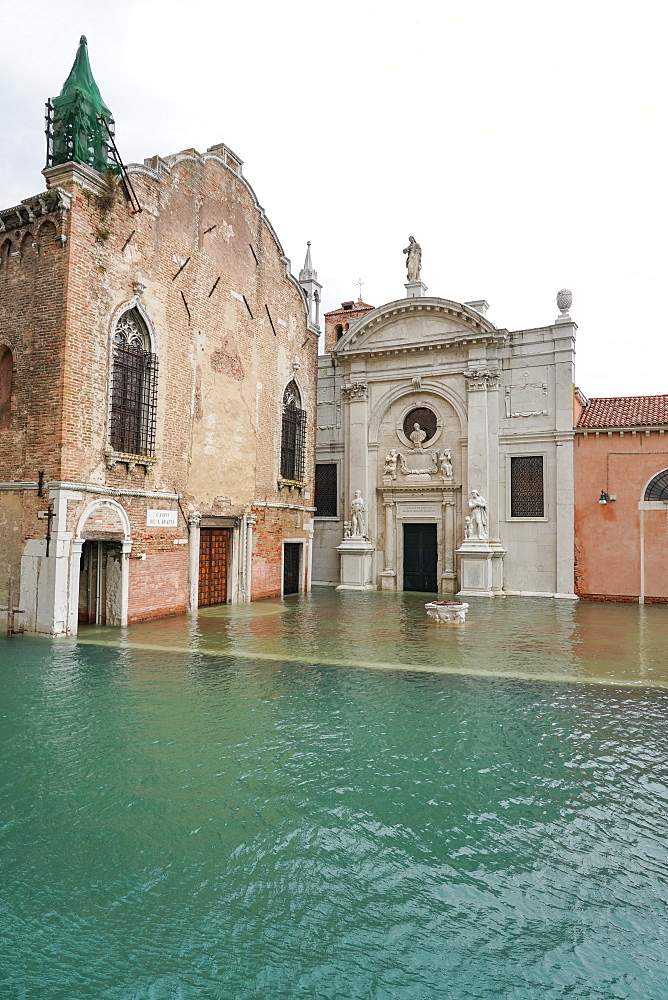 High tide in Venice in November 2019, Church of the Abbey of Misericordia, Venice, UNESCO World Heritage Site, Veneto, Italy, Europe