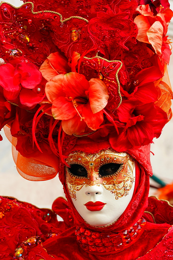 Masks at the Venice Carnival in St. Mark's Square, Venice, Veneto, Italy, Europe - 819-1197