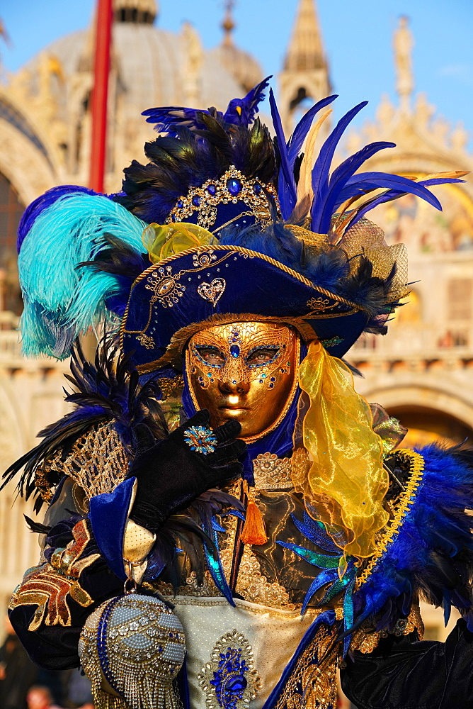 Masks at the Venice Carnival in St. Mark's Square, Venice, Veneto, Italy, Europe - 819-1201