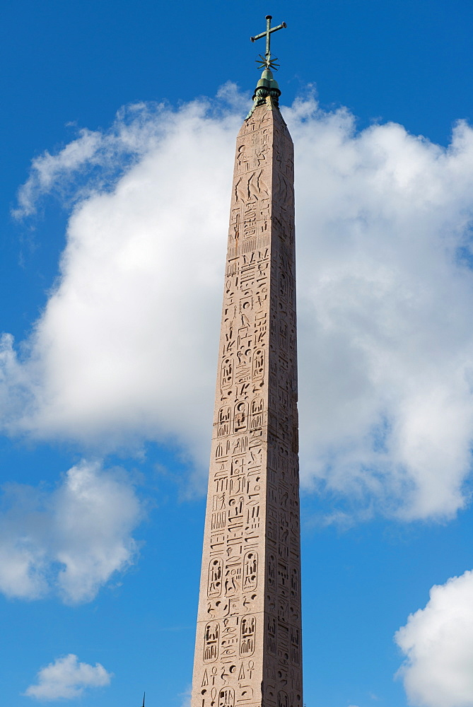 The Egyptian obelisk in the middle of Piazza del Popolo, Rome, Lazio, Italy, Europe