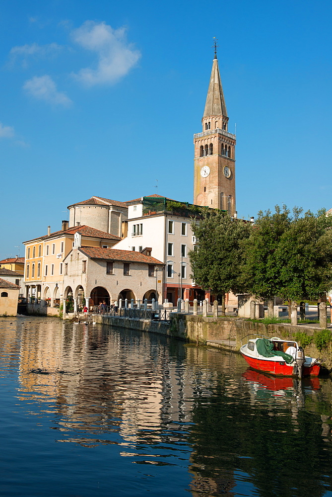 The river port and the oratory of the Madonna della Pescheria, Portogruaro, Veneto, Italy, Europe