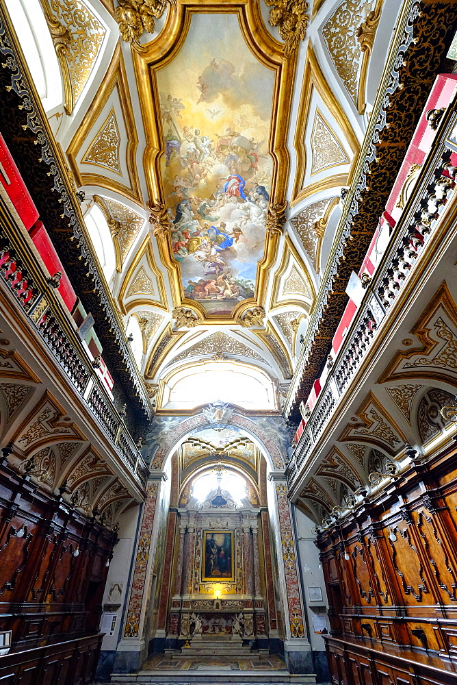 The Sacristy of the San Domenico Maggiore Church housing the coffins of members of the royal Aragonese family, Naples, Campania, Italy, Europe - 819-717