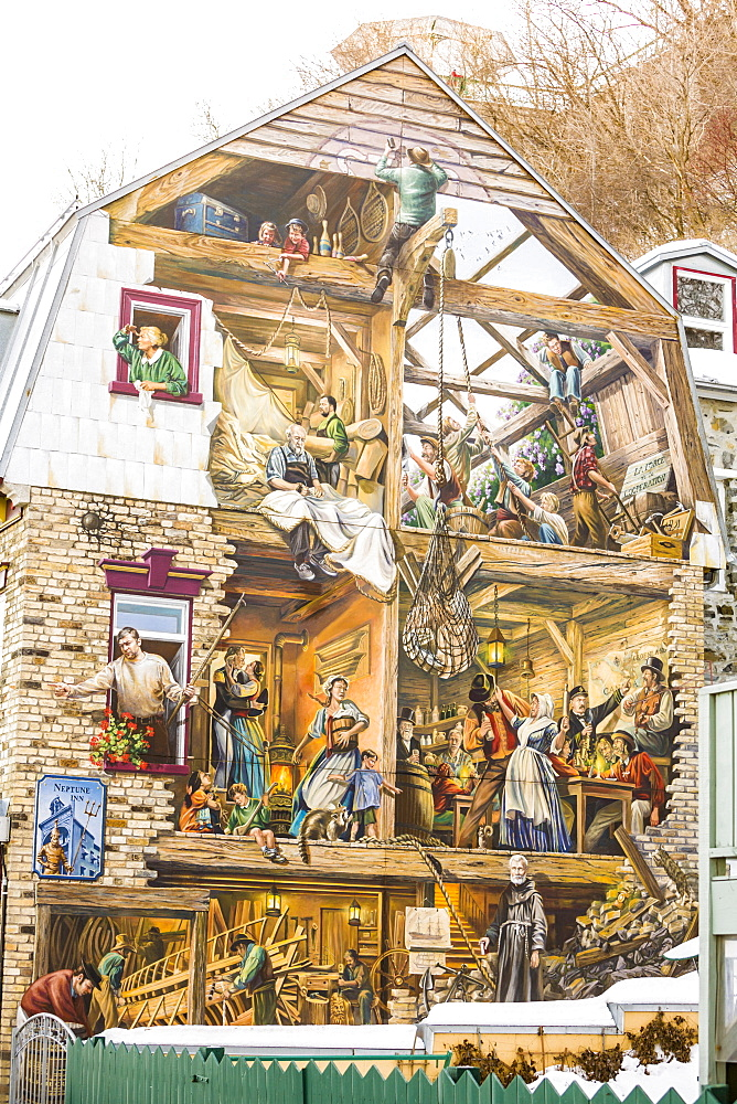 Fresque du Petit-Champlain, mural depicting milestones in the history of Cap-Blanc, Old Quebec, Quebec City, Quebec, Canada, North America - 821-239
