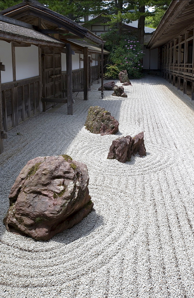 Narrow rock garden at Kongobuji Temple, the Shingon Buddhist sect headquarters, on Mount Koya, Wakayama, Japan, Asia - 822-260
