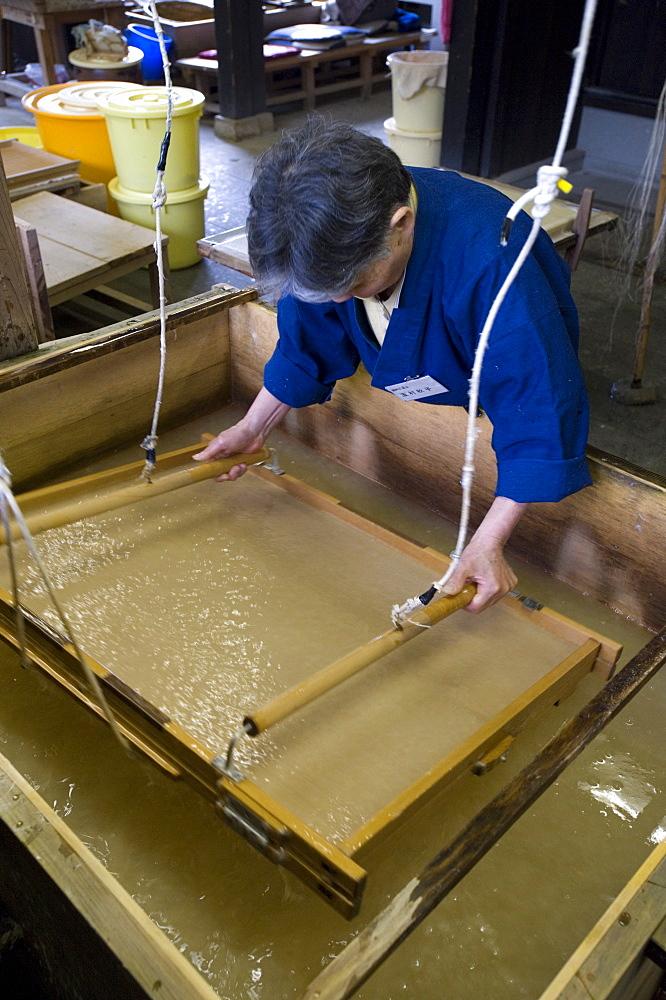 Making traditional Japanese washi paper at Echizen Washi No Sato village in Fukui, Japan, Asia