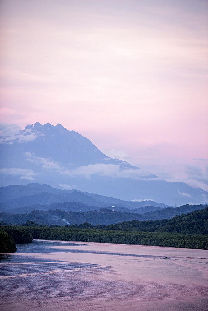 A view of Mount Kinabalu over Menkabong River, Sabah, Malaysian Borneo, Malaysia, Southeast Asia, Asia  - 824-150