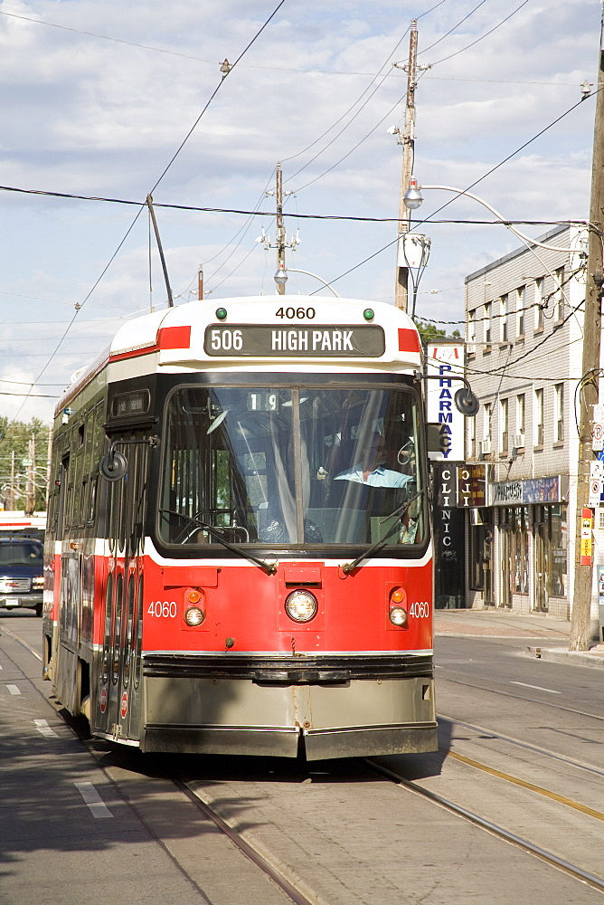 Typical Toronto red rocket, a street car or trolley bus, Toronto, Ontario, Canada, North America - 825-105