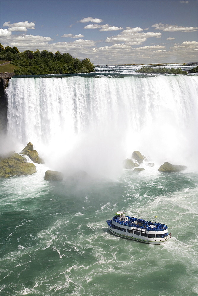 Maid of the Mist sails near the American Falls in Niagara Falls, New York State, United States of America, North America - 825-117