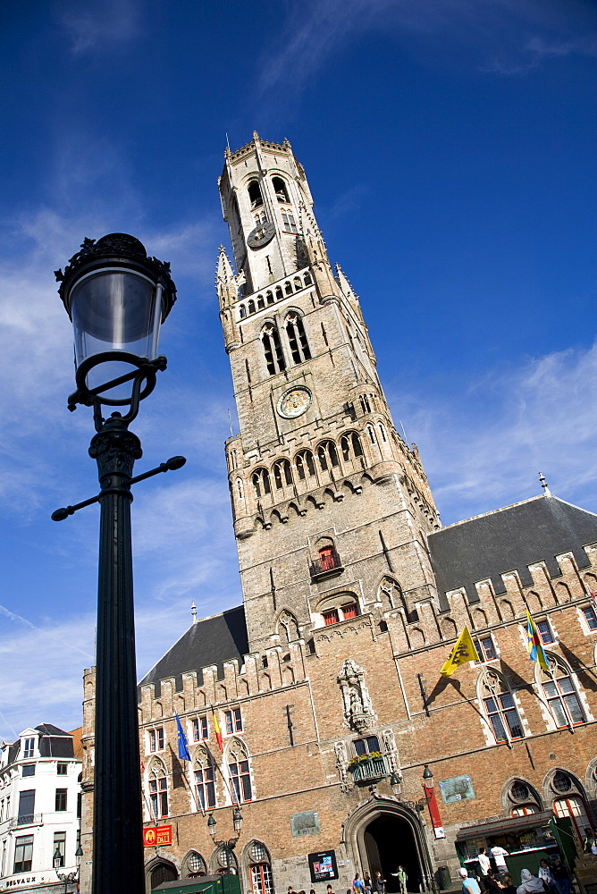 Medieval buildings in Central Square, Bruges, Belgium, Europe - 825-125