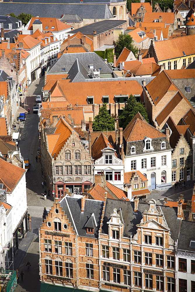 Aerial view of medieval city of Bruges, UNESCO World Heritage Site, Belgium, Europe - 825-128