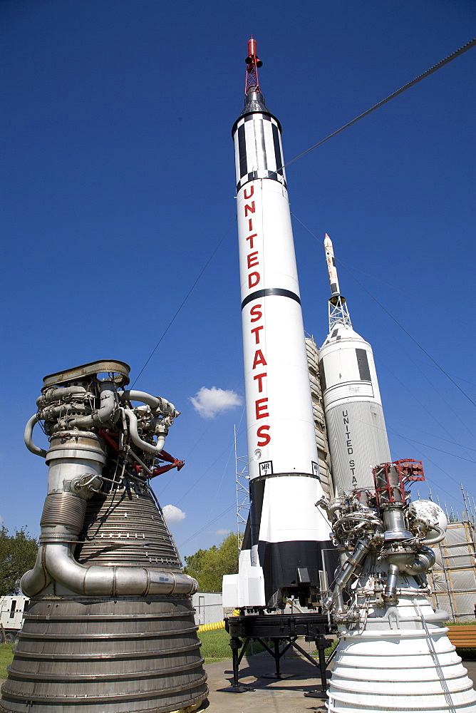 Old rockets on display at Johnson Space Centre, Houston, Texas, United States of America, North America