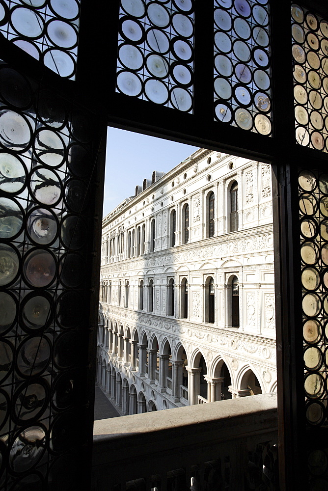 Looking through a window in the Doge's Palace, Venice, Veneto, Italy, Europe - 825-162