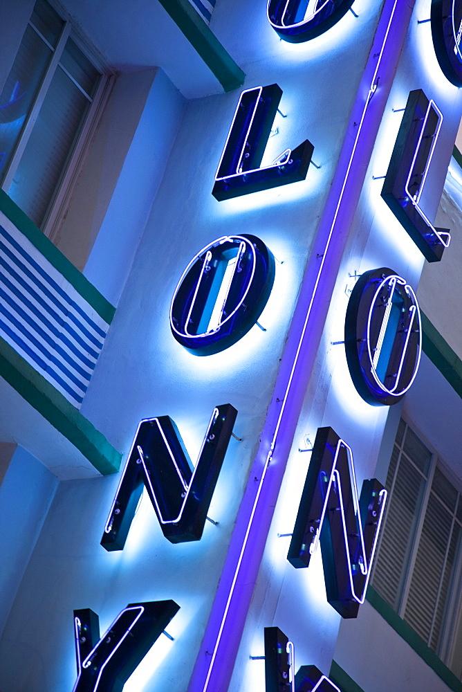 Colony Hotel neon sign, South Beach, Miami, Florida, United States of America, North America - 825-186