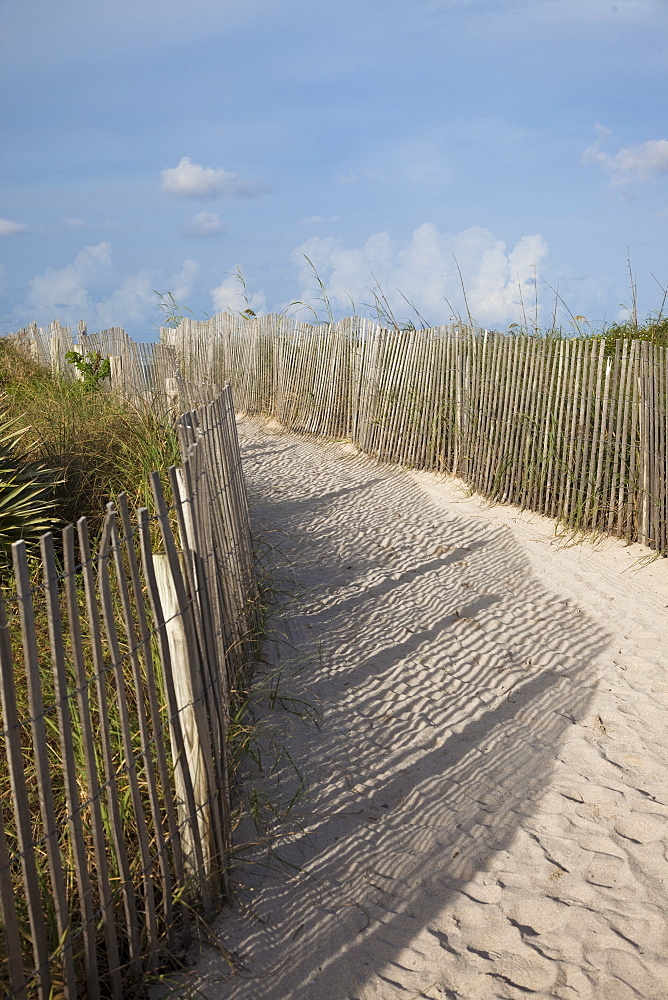 Sand held in place by fence on South Beach in Miami Beach, Florida, United States of America, North America - 825-218