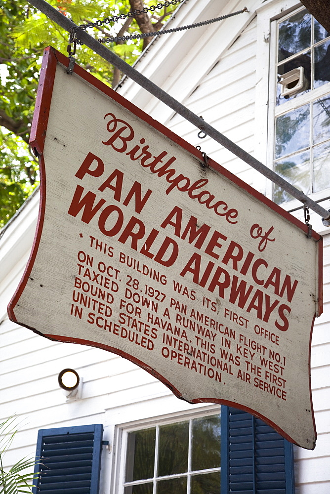 Sign for Pan American Airways in Key West, Florida, United States of America, North America - 825-222