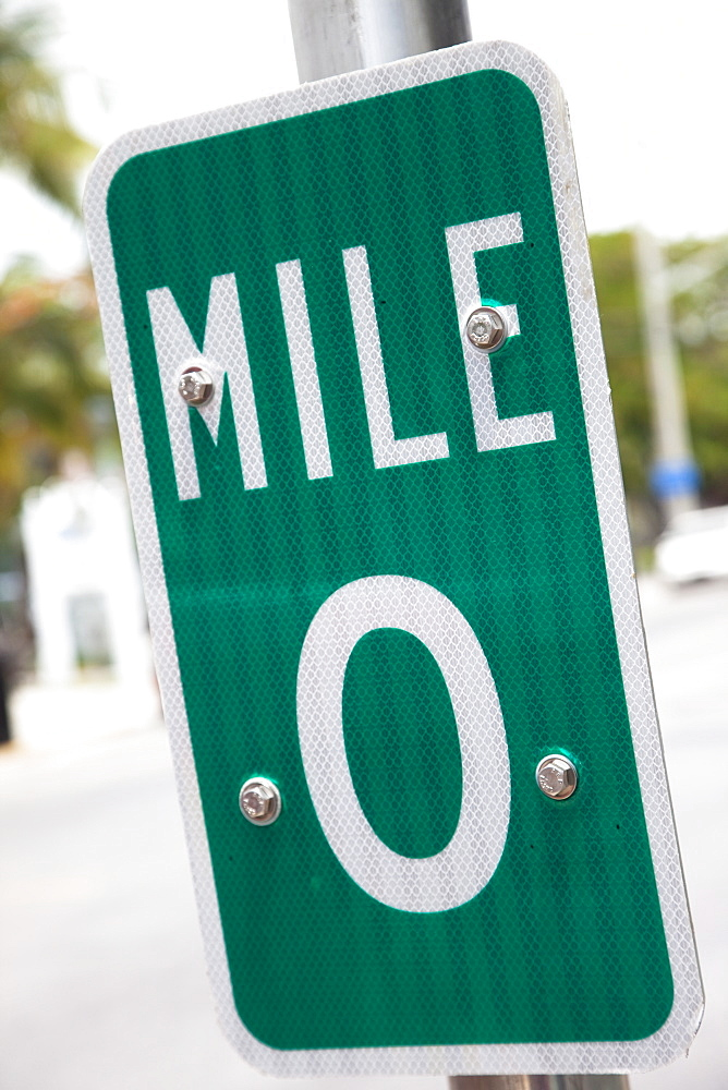 Signpost for mile 0, the beginning of US1 highway, Key West, Florida, United States of America, North America