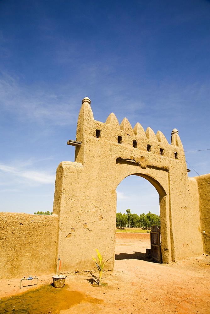 Main gate to Djenne Djenno Hotel, in Djenne, Mali, West Africa, Africa - 825-36