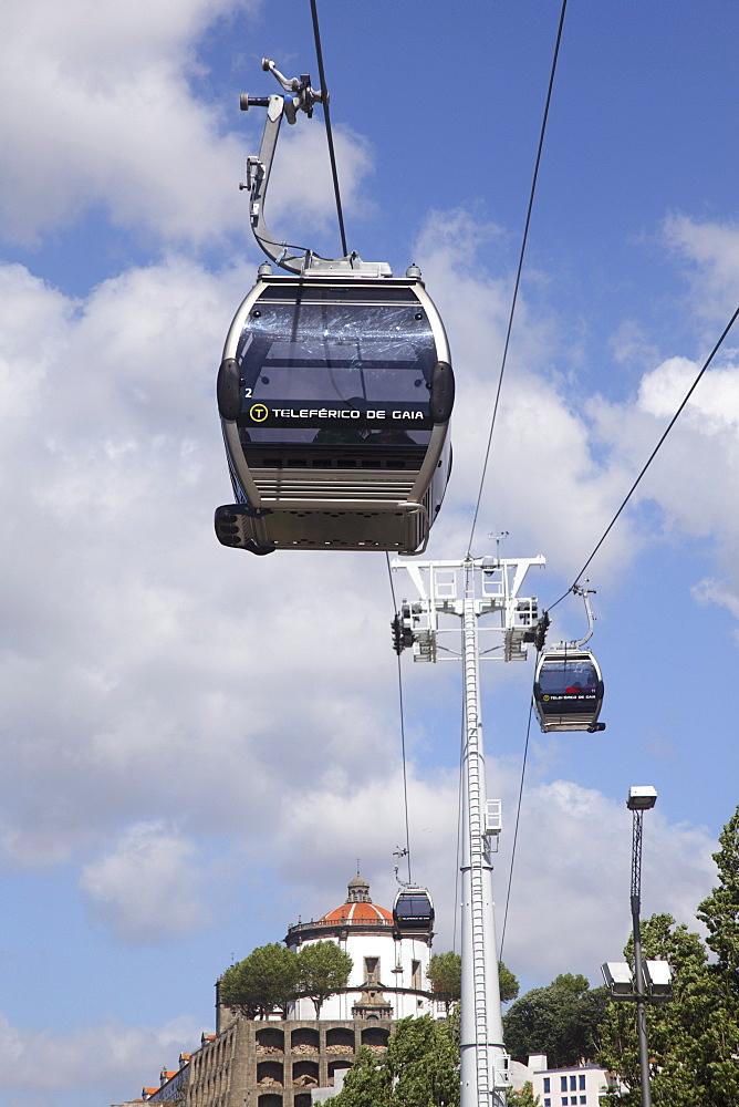 Cable car along the riverside, Vila Nova de Gaia, Porto, Douro, Portugal, Europe