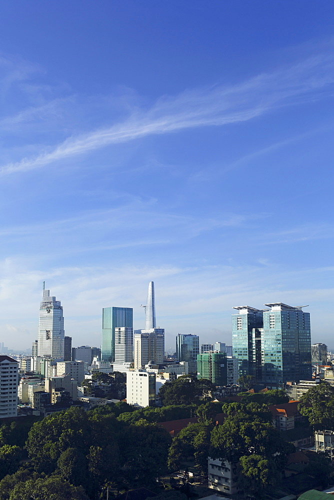 The skyline of the downtown area, including the Bitexco Tower, Ho Chi Minh City (Saigon), Vietnam, Indochina, Southeast Asia, Asia - 826-608