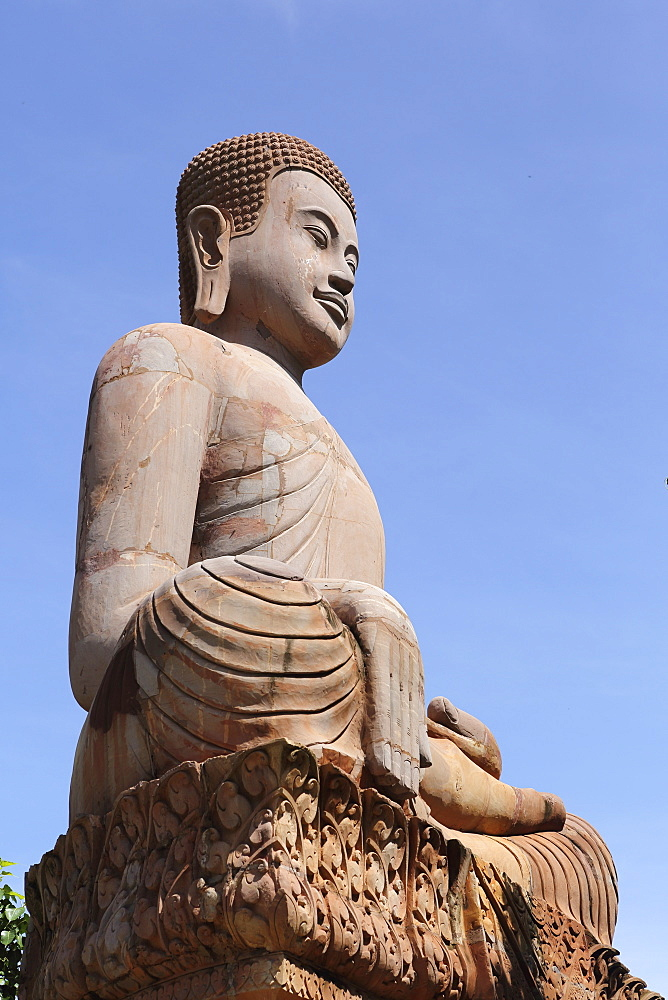 Long-eared Buddha figure at Udon Monastery (Vipassana Dhura Buddhist Centre) at Phnom Udon, Udong, Cambodia, Indochina, Southeast Asia, Asia - 826-611